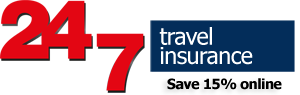 24/7 travel insurance logo with 15pc discount