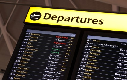 Image of departures board in airport