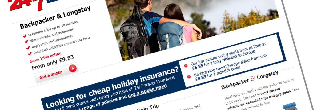 Screen shot of the 24/7 travel insurance home page