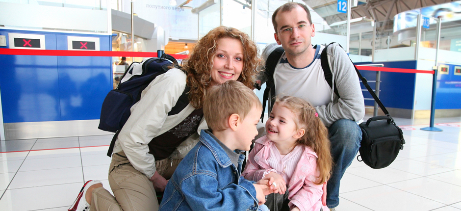Family photo in airport